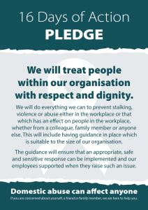 16 Days of Action pledge poster