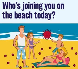 Cartoon of people on beach with coronavirus symbol