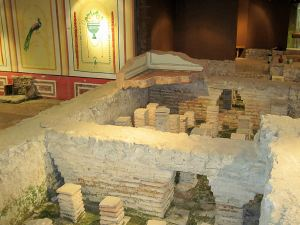 The bath suite ruins, Newport Roman Villa.