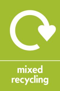 Graphic image of a sign for mixed recycling