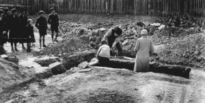 Excavating Newport Roman Villa, 1926.