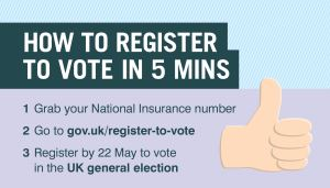 Register by 22 May to vote in the UK general election