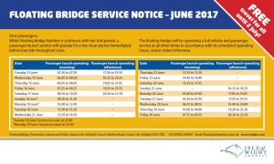 Floating bridge low tide service throughout June