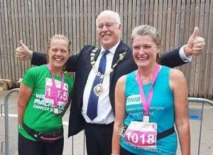Julie (left) and Shirley (right) with the Mayor of Chichester