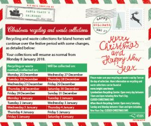 The festive recycling and waste collection timetable is now out