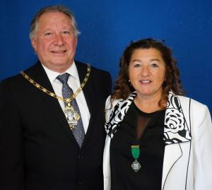 Councillor George Cameron with Councillor Lora Peacey-Wilcox.