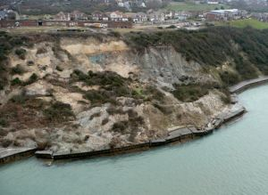 The landslide pushed a large part of the seawall out towards the sea (image HM Solent Coastguard)