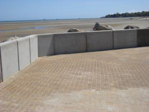 A number of concrete panels in the breakwater wall have now been repaired