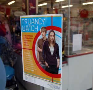 Many shops display these stickers, letting young people know they work with the council to crack down on truancy