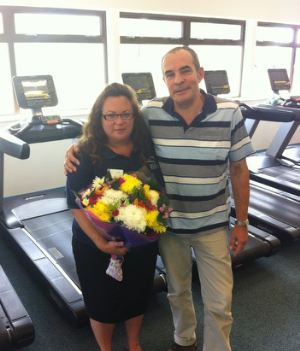 Lizzie was given a surprise visit by Andy just a week after being taken to hospital and received flowers and chocolates.