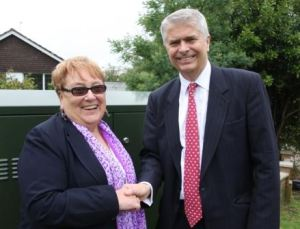 Councillor Shirley Smart and BT's Bill Murphy with the first cabinet in Farriers Way, Shorwell