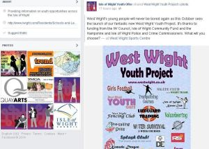 The Facebook page and section on iwight.com will provide informaiton on youth offer activities across the Island.