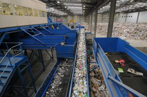 Recyclable waste is sent to a processing plant where it is seperated.