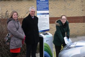 At the launch of the Ryde charging point are Councillor Luisa Hillard, David Farr (SSE) and electric vehicle owner Ruth Jones.