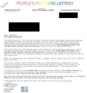 A copy of the letter which was sent to the elderly resident