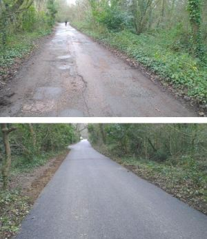 A before and after image of part of the route that has been improved.