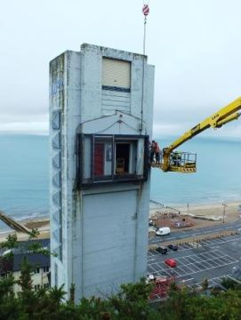 Works in progress at Shanklin cliff lift