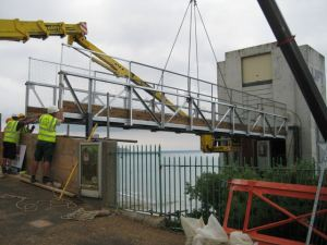 Works have recently been completed to install the temporary bridge